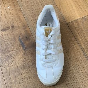 White & Gold Adidas Shoes